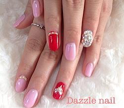 ピンクと赤のブライダルジェルネイル